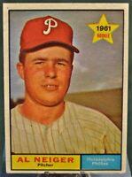 1961 Topps Baseball Card, #202 All Neiger. Philadephia Phillies - Rookie - EX-MT