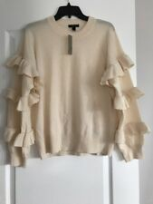 J. Crew Sweater With Ruffle Sleeves Ivory Size L NWT