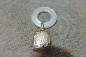 Vintage Webster Sterling Baby Rattle Teether Ring