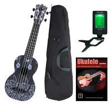 Ukulele Guitarra Hawaii Uke Ukelele Kit 4 Cordes Nylon Afinador Bolsa Flor Negro
