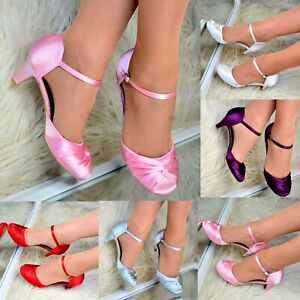 Womens Low Kitten Heel Satin Shoes Wedding Bridesmaid Mary Jane Ankle strap Size