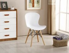 6 Eiffel Plastic Dining Chair Ribbed PVC Scandinavian Style Retro Wooden Chairs 4 White