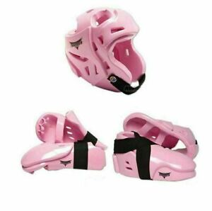 ProForce Sparring Gear Set Helmet Gloves Foot Guards Karate TKD MMA Pads Pink