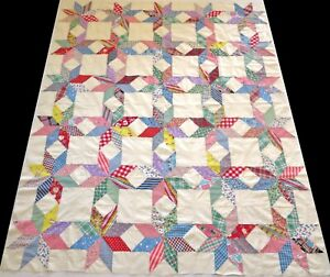 Antique 1930's Hand Stitched 10 spi Feed Sack Star Quilt Top 78x66