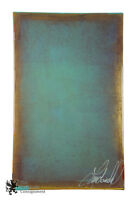 Vintage Abstract Art Oil on Canvas Resin Sealed Signed Sea Green Gold