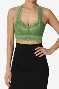 TheMogan S~3XL Racerback Floral Lace Lined Bralette Layering Bra Crop Tank Top