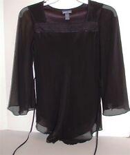 Limited Too Girl's Satin Trimmed Top ~ Black ~ Medium/12