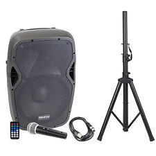 "15"" Active 1000 Watts Professional Audio Speaker Bluetooth w/ Stand & Mic"