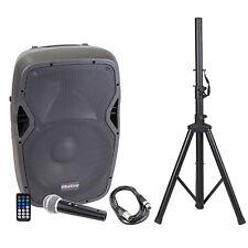 """15"""" aktiv 1000 Watt Professional Audio Lautsprecher Bluetooth Mit Ständer & Mic"""