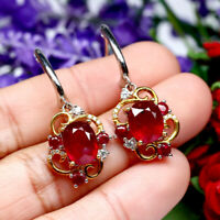 NATURAL 8 X 10 mm. OVAL RED RUBY & WHITE CZ EARRINGS 925 STERLING SILVER