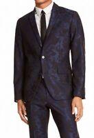 INC Mens Blazer Blue Black Large L Slim Fit Floral Jacquard Two Button $129 264