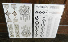 Pack of Silver or Gold Temporary Tattoo / Tattoos - assorted designs - BNIB