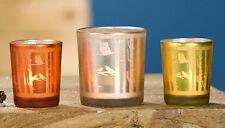 Votivglas Windlicht Eule/Wald 3er-Set (G24426) Kerzenhalter Kerzenglas