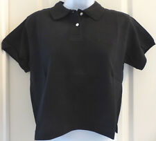 LOTTO Tennis Italiano Womens Polo Match Cropped Blouse Shirt, Black, Size L, NWT