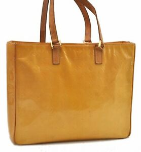 Auth Louis Vuitton Vernis Columbus Shoulder Tote Bag Yellow M91047 LV B2139