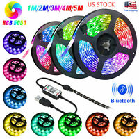 5M 5V USB LED Strip Light 5050 RGB TV Backlight Bluetooth APP Remote Music Decor