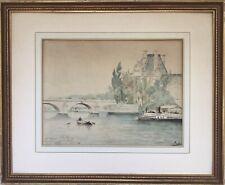 Émile RAISSIGUIER 1851-1932.La Seine au Pont Neuf.1884.Aquarelle signée.23x30.Ca