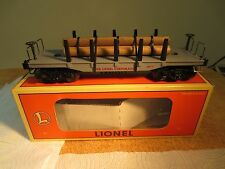 Lionel '0' Flat Die-Cast Car W/ Die-Cast Trucks & Wood Logs.