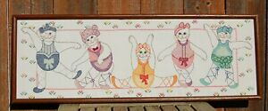 Vintage 1980s Exercising Ballerina Cats Kittens Embroidery Framed Picture Art
