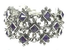 TAXCO MEXICAN 925 STERLING SILVER AMETHYST BEADED BEAD BRACELET MEXICO