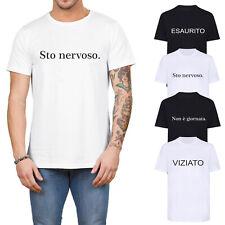 T shirt Uomo Mezza Manica Corta Maglietta Cotone Maglia Stampa Esaurito Nervoso