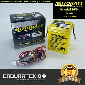 MotoBatt MBT6N4 Motorcycle Battery 6v 4AH (Yuasa 6N42A, 6N42A3, 6N42A4, 6N42A5)