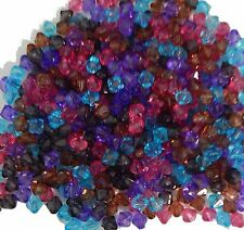 COLOUR ASSORTMENT 20 x 8mm Acrylic Bicones /'grooved/' with silver