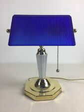 Brass Bankers Desk Lamp w/ Rare Cobalt Blue Ribbed Glass Shade Octagon Base