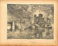 Bombardement Pont de Dinant Belgique Incendie Peint par Paul Madeline 1915 WWI