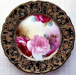 """7"""" Nippon Antique Porcelain Hand Painted 24K Gold Decorative / Display Plate"""