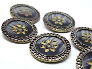 Set of 6 Antique Celluloid Button w Pierced Rim Pad Back Center Cut Out 1 1/4