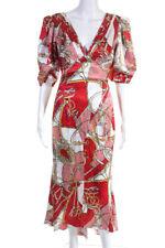 Ronny Kobo Mulheres Manga Curta Decote V resumo impresso Vestido Vermelho Branco Pequeno
