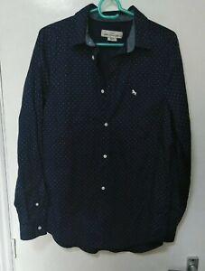 H&M L.O.G.G. men's dark navy white dots cotton shirt regular fit S EUR 170 US14Y