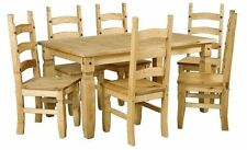 Solid Wood Dining Tables Sets with Flat Pack and 7 Pieces