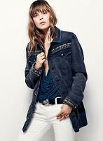 Free People Jacket Studs trim Blue Black Denim Long Embroidery S NEW $198