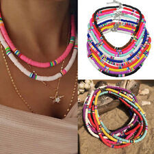 Boho 6mm Colorful Polymer Clay Choker Necklace Flat Round Beaded  Necklace