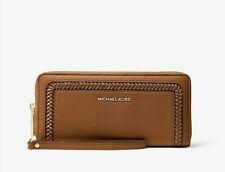 Michael Kors Lexington Large Pebbled Leather CONTINENTAL Wristlet Wallet Tan