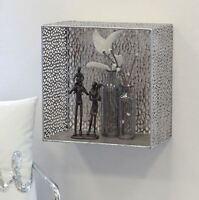 74487 Wandregal Purley aus Metall antik silber Höhe 35cm Breite 35cm Tiefe 20cm