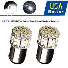 2x 6000K White 1157 High Power 50SMD RV Tail Brake LED Lights Bulb BAY15D 12V