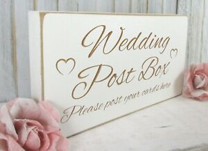 Wedding Post Box Sign Free Standing Vintage Shabby & Chic White Wooden Plaque