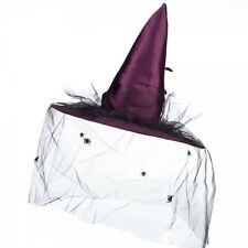 Deep Purple Witch Hat With Veil, Feathers And Spiders