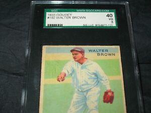 1933 GOUDEY #192 WALTER BROWN SGC 40 VG 3 ~NEW YORK YANKEES