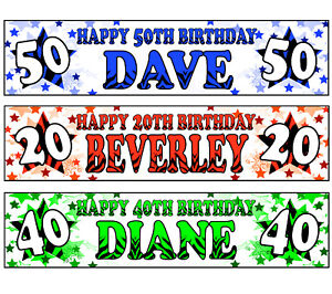 PERSONALISED BANNERS NAME AGE PHOTO BIRTHDAY PARTY ZEBRA RED GREEN BLUE 100TH A3