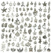 JIALEEY Wholesale 100 Pieces Mix Antique Silver Charm Pendant Collection DIY