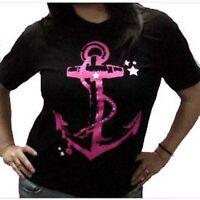 Devast8 Black PINK ANCHOR Goth Metal Punk Rockabilly WOMEN'S T-SHIRT NEW Size M