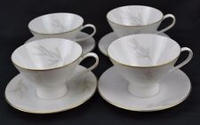 "Rosenthal Mid Century Raymond Loewy ""Grasses"" Gold Trim Set 4 Cups Saucers"