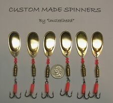 1 Lot of 6 Custom Salmon Steelhead Pike#5 Size Gold French Blade Spinners 1/3 Oz