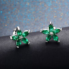 Jewellery New Earrings Stud Green Emerald 10Kt White Gold Filled Women's Wedding