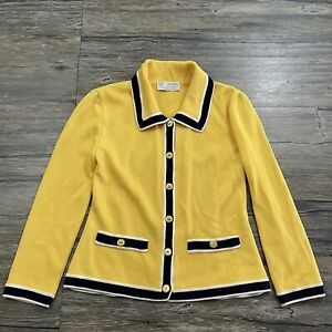 St. John Collection Knit Blazer Jacket Yellow Womens