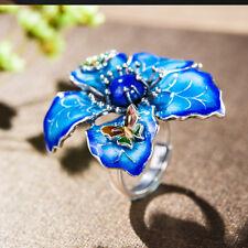 Elegant Retro Style Cloisonne Enamel Peony Flower lapis lazuli design ring S925
